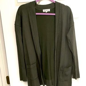 Pink Rose Olive Green Open Sweater Cardigan L